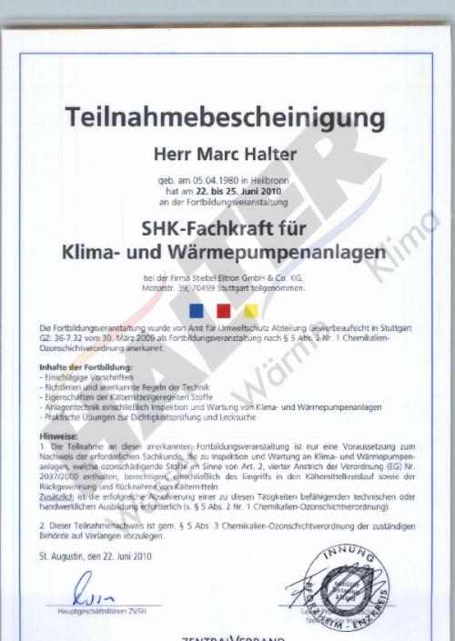 Fachkraft für Klima- und Wärmepumpen
