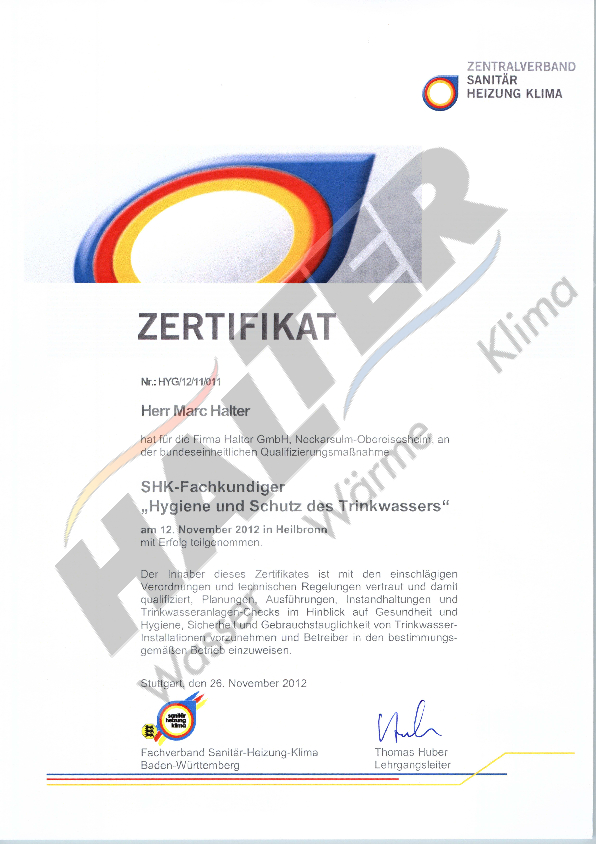 Zertifikat Trinwasser