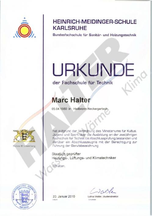 Urkunde Techniker Marc Halter