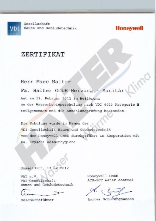 Zertifikat Wasserhygieneschulung