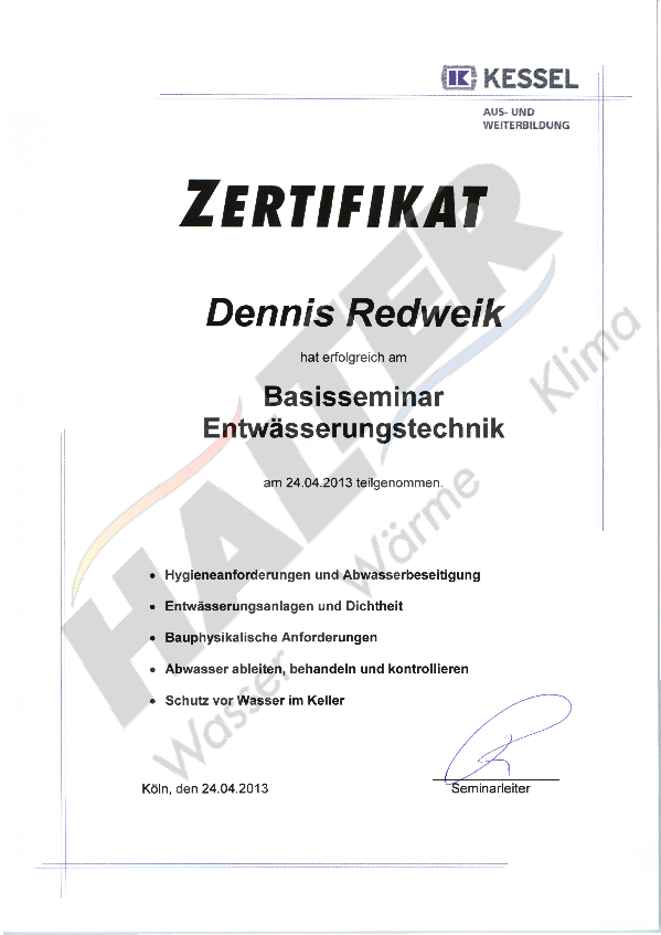 Qualifizierung Dennis Redweik (Entwässerungstechnik)