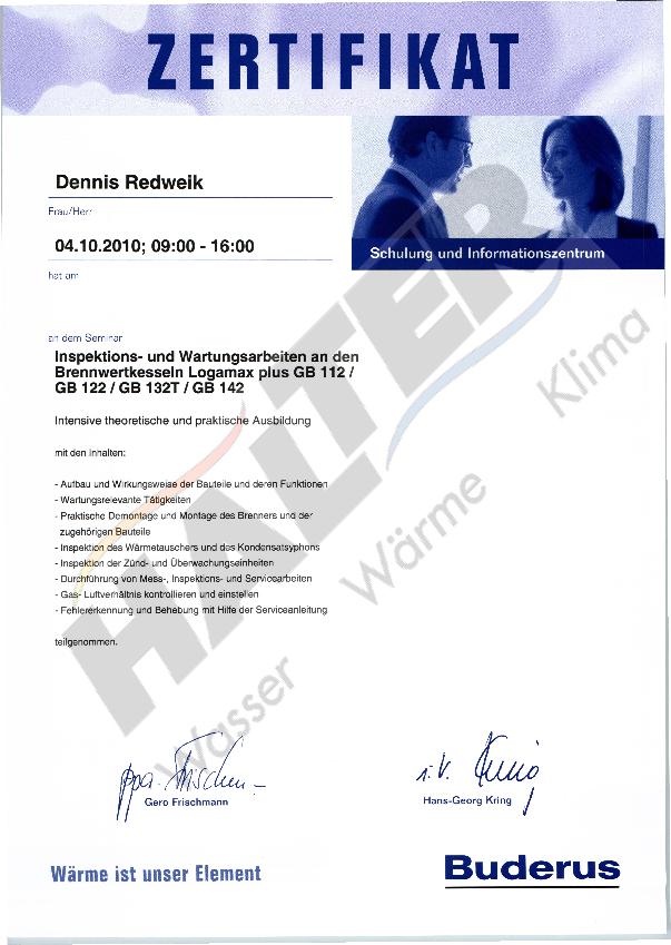 Qualifizierung Dennis Redweik (Brennwertkessel Logomax)