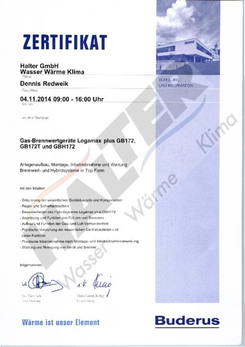 Zertifikat für Denis Redweik (Buderus Gas-BW)