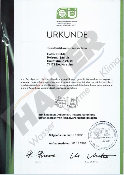 Qualifizierung: Fachbetrieb Heizölanlagen