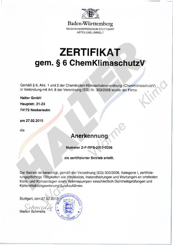 Zertifikat gem. §6 ChemKlimaschutzV