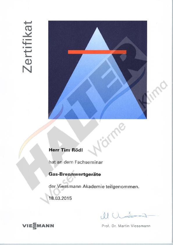 Qualifizierung: Gas-Brennwertgeräte Tim Rödl