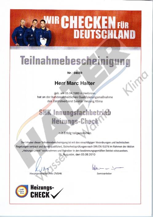 Qualifizierung: Heizungs-Check